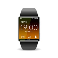Realistic smart hand watch device isolated on white background vector illustration. Realistic Smart Watch