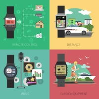 Smart watch design concept set with remote control and sport equipment flat icons isolated vector illustration. Smart Watch Set