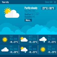 Weather Interface Flat Concept. Current weather condition and meteorological forecast web text and symbol interface flat color concept vector illustration