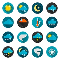 Weather Flat Icon Set. Weather conditions signs rain cloud sun and temperature flat color icon set isolated vector illustration