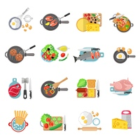 Home cooking flat icons set. Home cooking healthy food flat pictograms collection of meat salads and fish dishes abstract isolated vector illustration