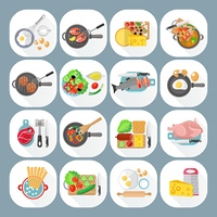 Home cooking day menu flat icons set with vegetables cheese and meat dishes abstract isolated vector illustration. Home cooking flat icons set