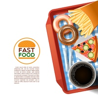 Fast food tray background poster. Fast food emblem and tray with donuts pizza and black coffee cup background poster abstract vector illustration