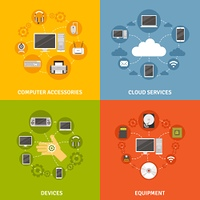 Computer Devices And Service Icon Set. Computer devices accessories and equipment and cloud service scheme  flat icon set isolated vector illustration