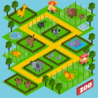 Isometric zoo park concept with 3d animals in cages vector illustration. Isometric Zoo Park