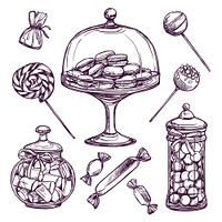 Sweets and candies sketch set with lollypops and macaron isolated vector illustration. Candy Sketch Set