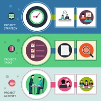 Project management horizontal banners set with strategy tasks elements isolated vector illustration. Project Management Banners