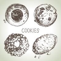 Hand drawn sketch sweet cookies set. Vector illustration