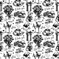 Valentine's Day and wedding hand drawn sketch vector illustration. Vintage love black and white seamless pattern