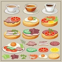 Set of breakfasts - fried eggs, sandwiches, tea, coffee. Components of breakfasts. Elements. Snack. Vector illustration