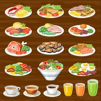Set of snack. Lunches. Food. Drinks. Vector illustration