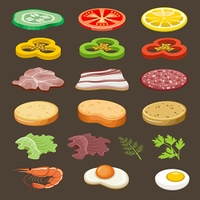 Food slices for sandwiches. Snack. Vector illustration
