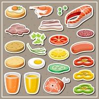 Set of grocery stickers. Vegetables, snack, drinks. Vector illustration
