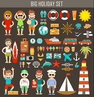 Big holiday set. Tourism. Tourists. Vector illustration