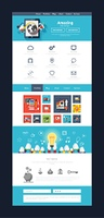 Website page template. Web design. Set of web page with icons for different websites in flat style. One page website flat ui and ux kit elements icons