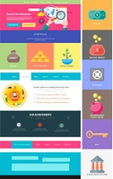 Website page template. Web design. Set of web page with icons for different websites in flat style. One page website flat ui and ux kit elements icons. Money concept