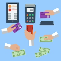 Icon set with hands holding cash and credit cards on blue background