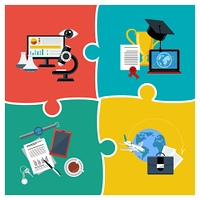 Flat design concept of online education, science and business