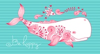 Card Be Happy with Whale and Patterns. Vector Illustration.. Card Be Happy with Whale