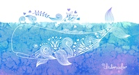 Watercolor card with happy whale and patterns. Vector illustration.. Watercolor card with whale