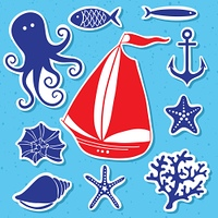 Silhouette Sea - Hand drawn set of sea symbols including sailing boat, octopus, fish, shells, coral