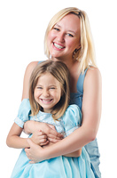 Happy mother and daughter isolated on white