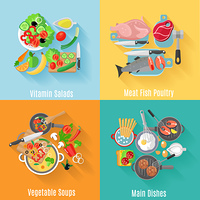 Home cooking main dishes and vegetable salads 4 flat icons square composition banner abstract isolated vector illustration. Home cooking 4 flat icons square banner