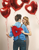 Fall in love among lots of heart balloons