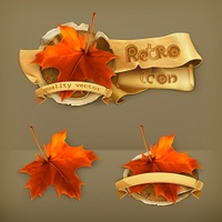 Maple leaf, retro vector icon