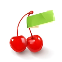 Pair of cherries for cocktails, vector logo