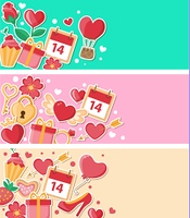 Vector decorative banners for Valentine's day. Flat design style.