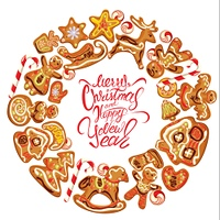 Holiday card. Round frame with xmas gingerbread isolated on white - cookies in reindeer, star, moon, people, heart, house and fir-tree shapes. Calligraphic text Merry Christmas and Happy New Year