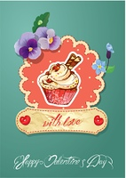 Holiday card with decorated sweet cupcake, flovers, vintage frames and calligraphic text with love, Happy Valentines Day.