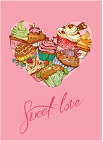 Holiday card with decorated sweet cupcakes in heart shape and calligraphic text SWEET LOVE - Valentines Day, wedding design