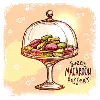 Multicolored macaroon cookies in glass candy jar sketch vector illustration. Candy Jar Sketch