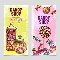 Sweet vertical banner set with hand drawn candies and marshmallow isolated vector illustration. Sweet Banner Set