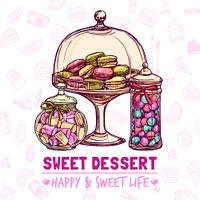 Candy shop poster with sweets cookies and macarons sketch vector illustration. Candy Shop Poster