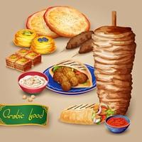 Arabic Food Set. Arabic food set with shawarma kebab hummus and pita cartoon vector illustration