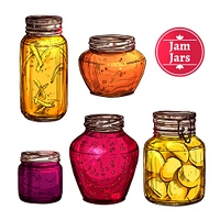 Colored hand drawn jam glass jars set isolated vector illustration. Colored Jam Jars