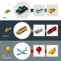 Isometric transport banners set with cars trucks and air transport isolated vector illustration. Isometric Transport Banners