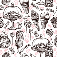 Sweets seamless pattern with hand drawn cakes chocolate candies vector illustration. Sweets Seamless Pattern