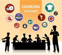 Cooking People Concept . Cooking people concept with food ingredients and menu symbols shadow flat isolated vector illustration