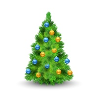 Christmas tree with decoration balls isolated on white background vector illustration. Christmas Tree With Balls