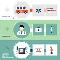 Emergency Paramedic Banners Set. Emergency paramedic horizontal banners set with first aid symbols flat isolated vector illustration