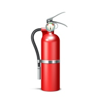 Red realistic fire extinguisher isolated on white background vector illustration. Fire Extinguisher Isolated