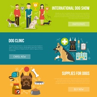 Dog banner set. Dog horizontal banner set with vet clinic and pet supplies elements isolated vector illustration