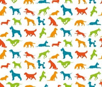 Dog seamless pattern. Dog seamless pattern with flat pet breeds silhouettes vector illustration