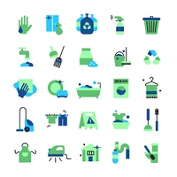 Cleaning Flat Color Icons Set.  Cleaning flat color icons set of household items with vacuum cleaner iron bucket rubber gloves mop brush and broom isolated vector illustration