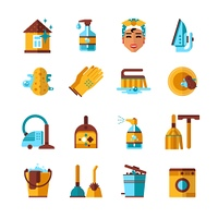 Housekeeping Cleaning Flat Icons Set. Housekeeping accessories and equipments cleaning washing ironing flat icons set on white background abstract isolated vector illustration