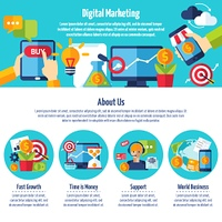 Digital Marketing Web Site. One page of digital marketing web site with titles and color icons about different methods of financial growth